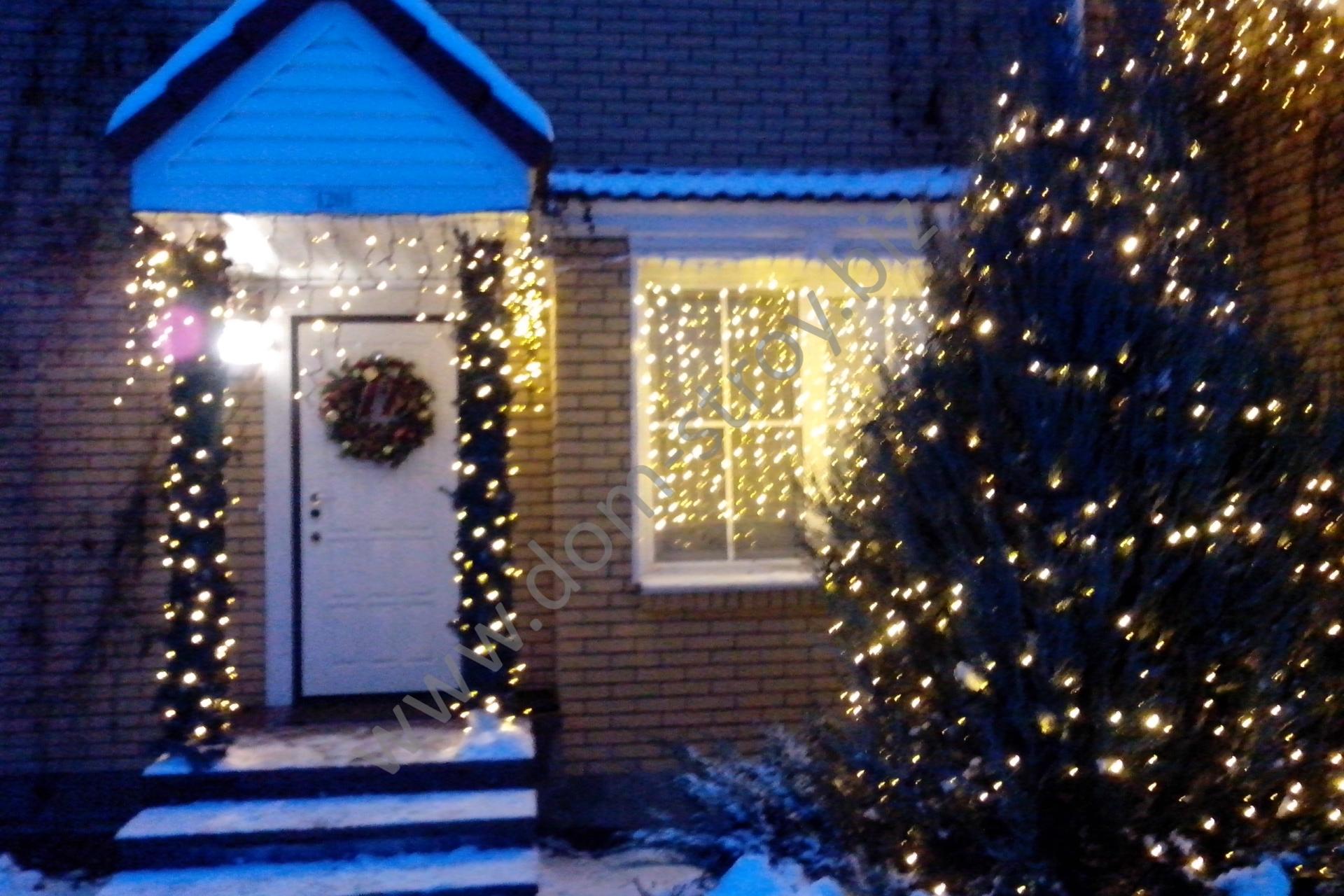 Новогоднее оформление дома и прилегающей территории