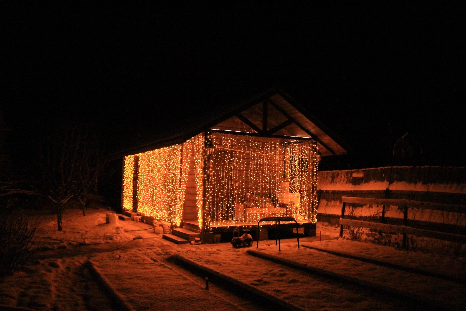 Подсветка бани светодиодным занавесом